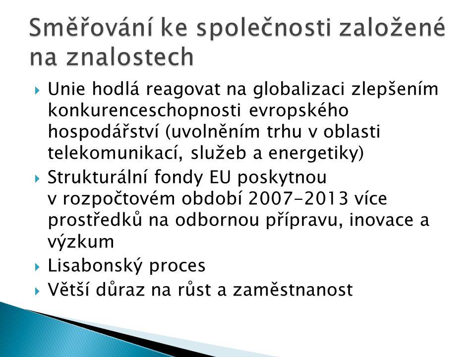  Unie hodlá reagovat na globalizaci zlepšením konkurenceschopnosti evropského hospodářství (uvolněním trhu v oblasti telekomunikací, služeb a energetiky)  Strukturální fondy EU poskytnou v rozpočtovém období 2007-2013 více prostředků na odbornou přípravu, inovace a výzkum  Lisabonský proces  Větší důraz na růst a zaměstnanost