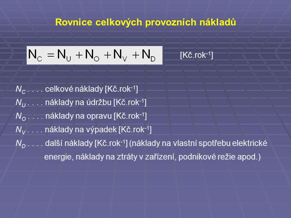 Rovnice celkových provozních nákladů [Kč.rok -1 ] N C....