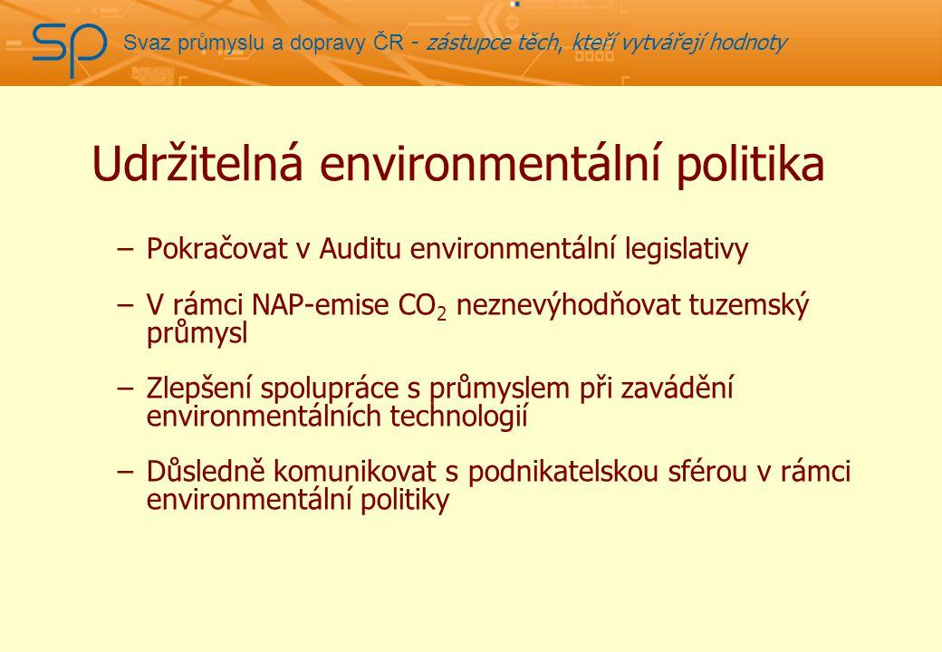 Svaz průmyslu a dopravy ČR - zástupce těch, kteří vytvářejí hodnoty Udržitelná environmentální politika –Pokračovat v Auditu environmentální legislativy –V rámci NAP-emise CO 2 neznevýhodňovat tuzemský průmysl –Zlepšení spolupráce s průmyslem při zavádění environmentálních technologií –Důsledně komunikovat s podnikatelskou sférou v rámci environmentální politiky