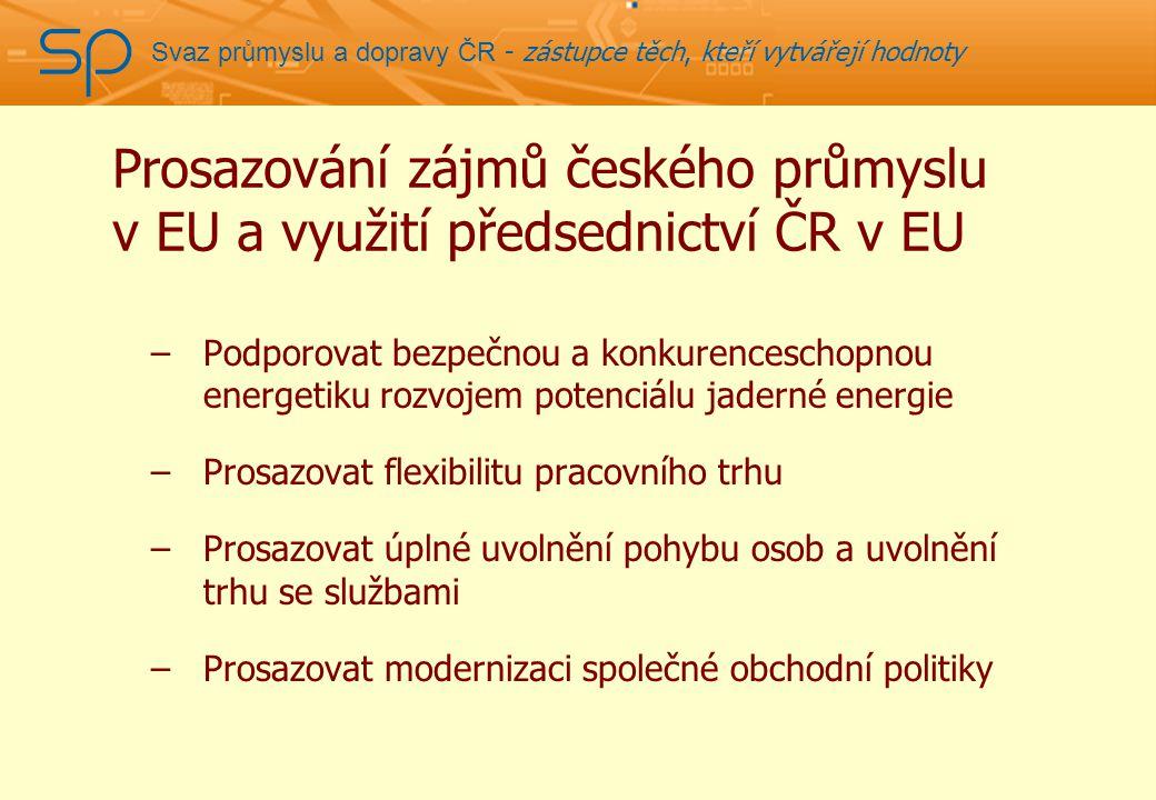 Svaz průmyslu a dopravy ČR - zástupce těch, kteří vytvářejí hodnoty Prosazování zájmů českého průmyslu v EU a využití předsednictví ČR v EU –Podporovat bezpečnou a konkurenceschopnou energetiku rozvojem potenciálu jaderné energie –Prosazovat flexibilitu pracovního trhu –Prosazovat úplné uvolnění pohybu osob a uvolnění trhu se službami –Prosazovat modernizaci společné obchodní politiky