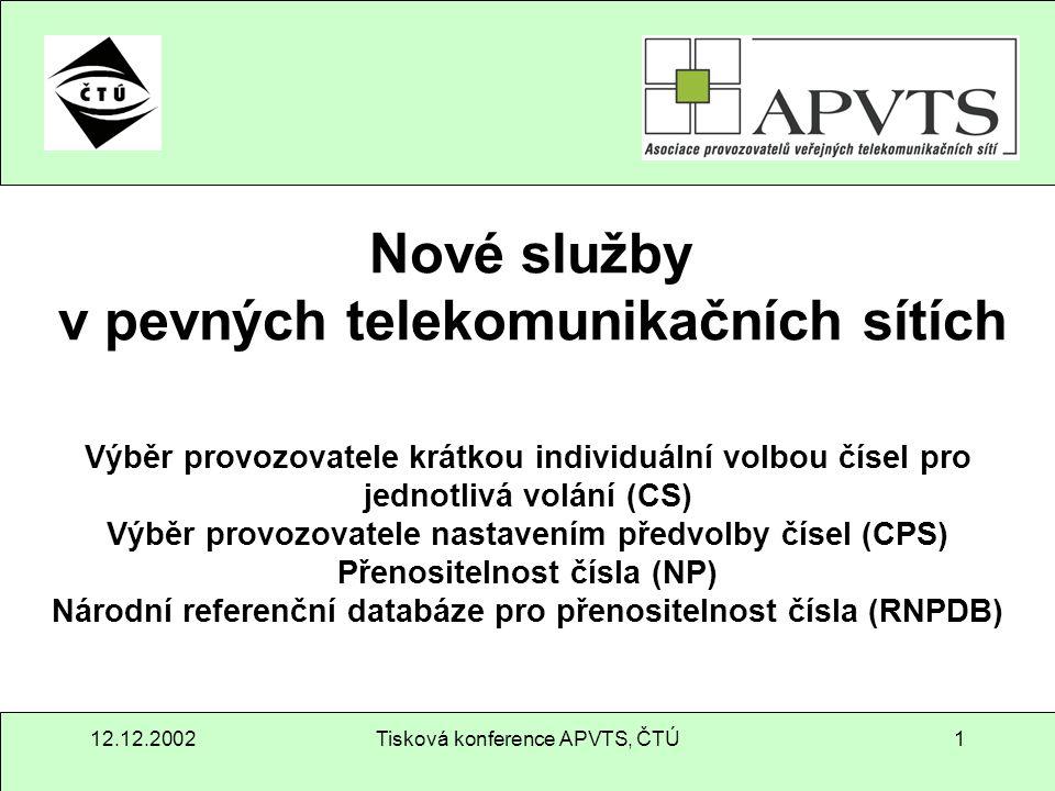 12.12.2002Tisková konference APVTS, ČTÚ2 Obsah Fakta – zákon č.151/2000 Sb.