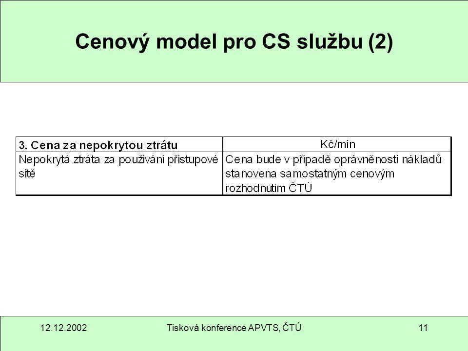 12.12.2002Tisková konference APVTS, ČTÚ11 Cenový model pro CS službu (2)