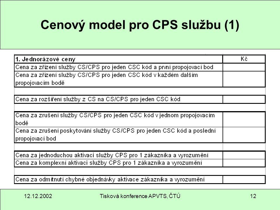 12.12.2002Tisková konference APVTS, ČTÚ12 Cenový model pro CPS službu (1)