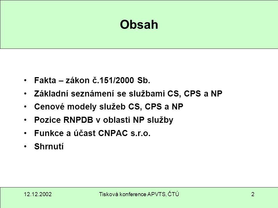 12.12.2002Tisková konference APVTS, ČTÚ13 Cenový model pro CS službu (2)