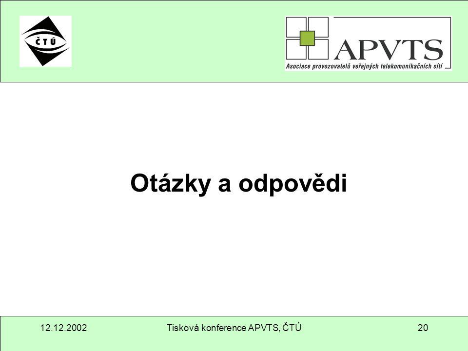 12.12.2002Tisková konference APVTS, ČTÚ20 Otázky a odpovědi