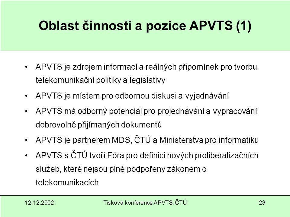 12.12.2002Tisková konference APVTS, ČTÚ23 Oblast činnosti a pozice APVTS (1) APVTS je zdrojem informací a reálných připomínek pro tvorbu telekomunikač