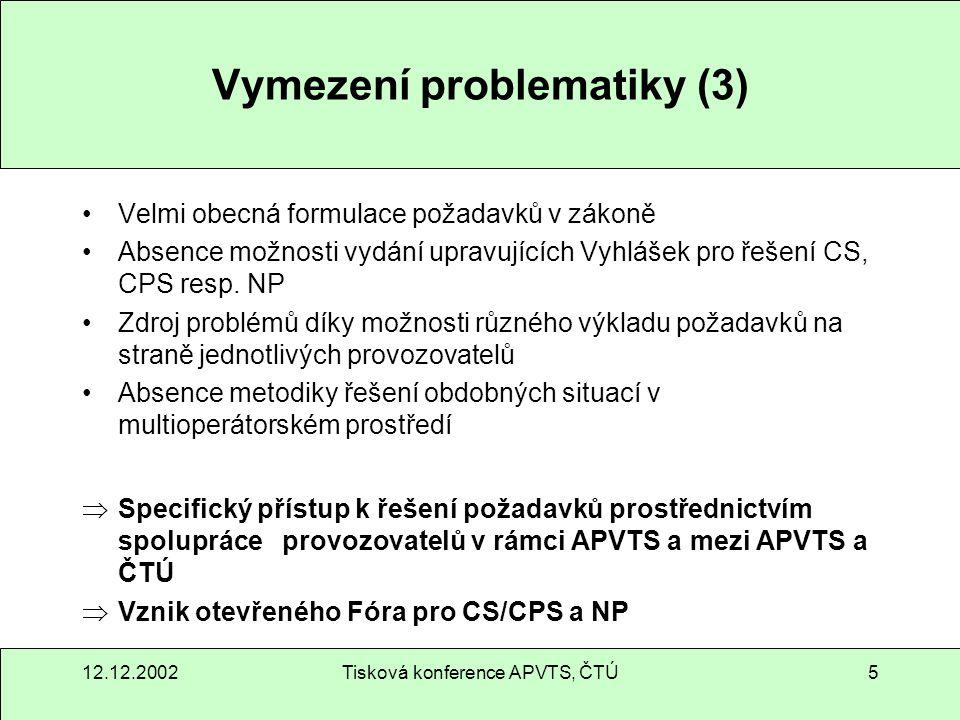12.12.2002Tisková konference APVTS, ČTÚ16 Funkce a účast CNPAC s.r.o.