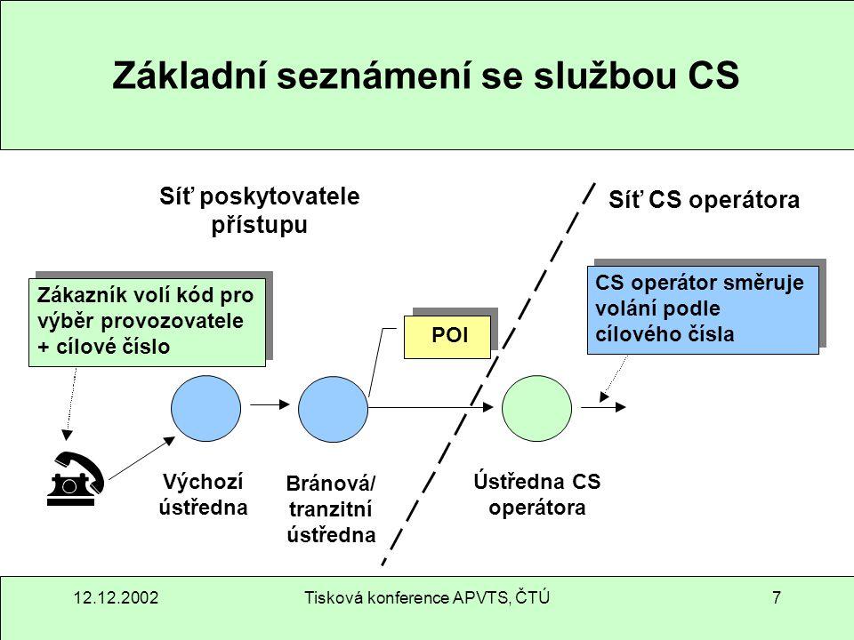 12.12.2002Tisková konference APVTS, ČTÚ8 Základní seznámení se službou CPS 1 2 3 4 Účastník volí cílové číslo CPS provozovatel směřuje volání na základě cílového čísla Ústředna rozpozná, že má účastník CPS Síť poskytovatele přístupu Síť provozovatele CPS POI Odchozí ústředna Bránová/ tranzitní ústředna Ústředna CPS operátora