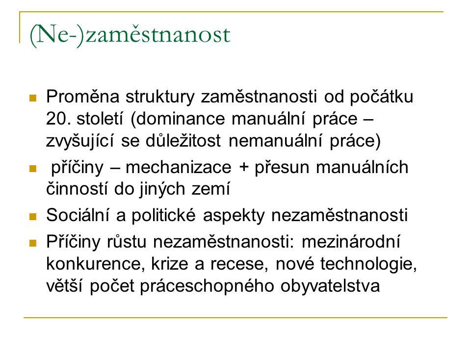 (Ne-)zaměstnanost Proměna struktury zaměstnanosti od počátku 20. století (dominance manuální práce – zvyšující se důležitost nemanuální práce) příčiny