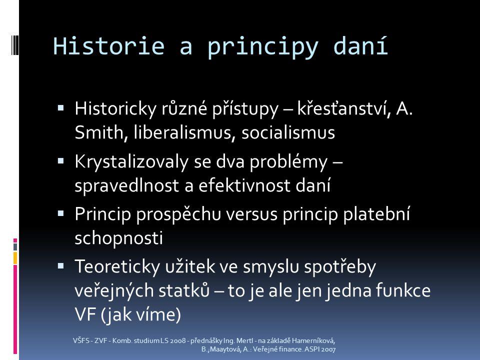 Historie a principy daní  Historicky různé přístupy – křesťanství, A.