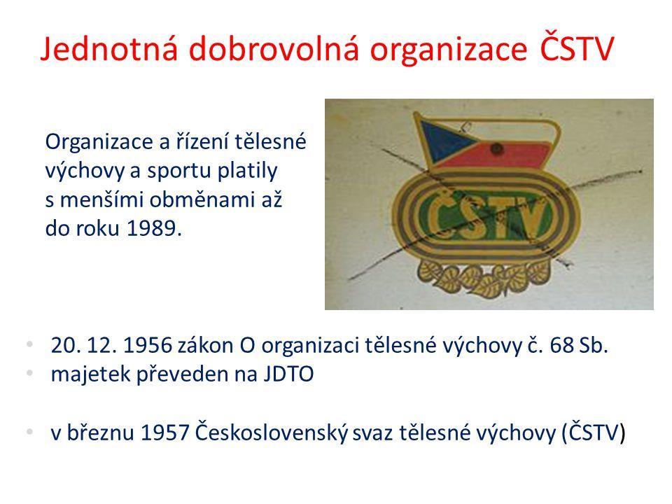 Jednotná dobrovolná organizace ČSTV Organizace a řízení tělesné výchovy a sportu platily s menšími obměnami až do roku 1989. 20. 12. 1956 zákon O orga