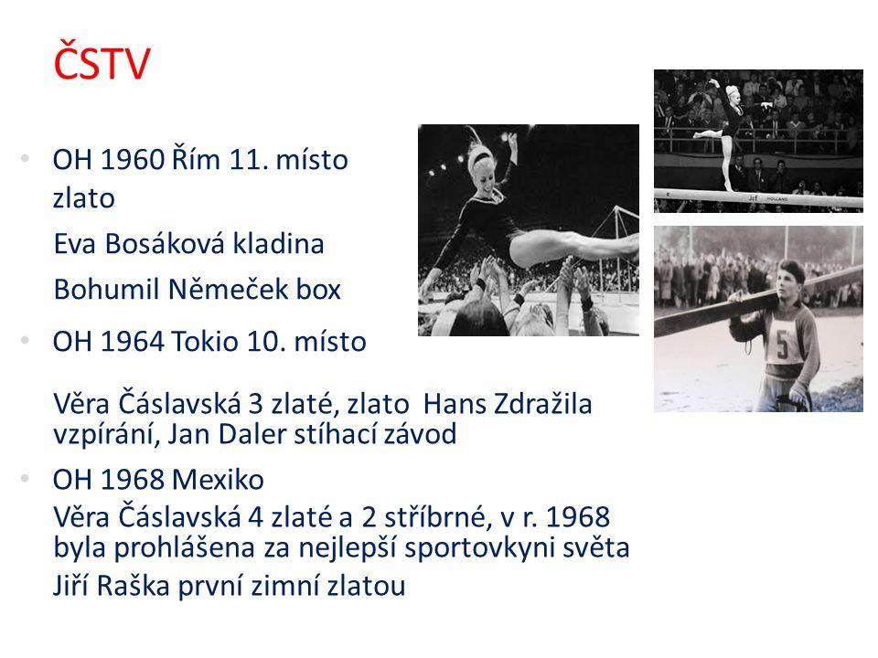 ČSTV Věra Čáslavská 3 zlaté, zlato Hans Zdražila vzpírání, Jan Daler stíhací závod OH 1968 Mexiko Věra Čáslavská 4 zlaté a 2 stříbrné, v r. 1968 byla