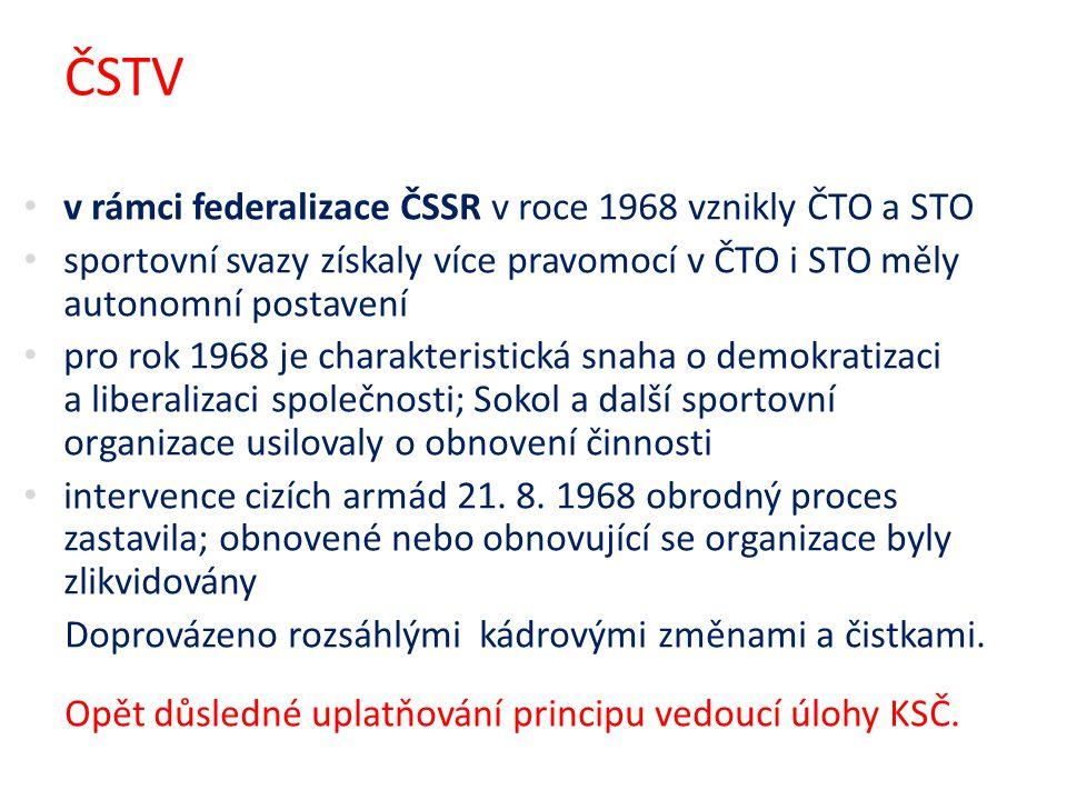 ČSTV v rámci federalizace ČSSR v roce 1968 vznikly ČTO a STO sportovní svazy získaly více pravomocí v ČTO i STO měly autonomní postavení pro rok 1968