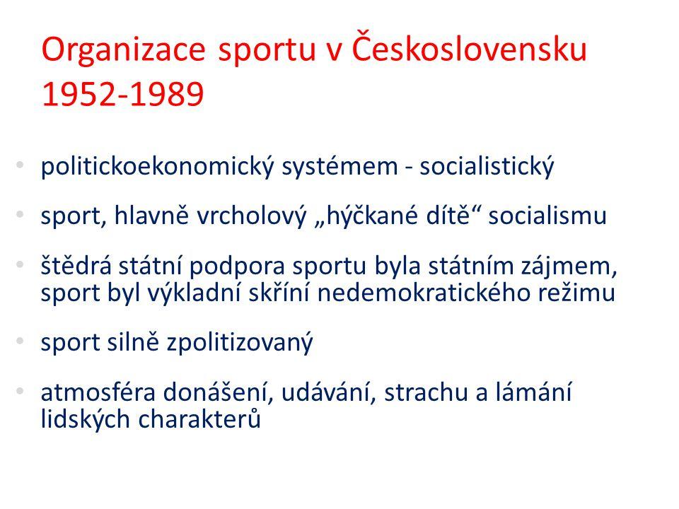 """Organizace sportu v Československu 1952-1989 politickoekonomický systémem - socialistický sport, hlavně vrcholový """"hýčkané dítě"""" socialismu štědrá stá"""