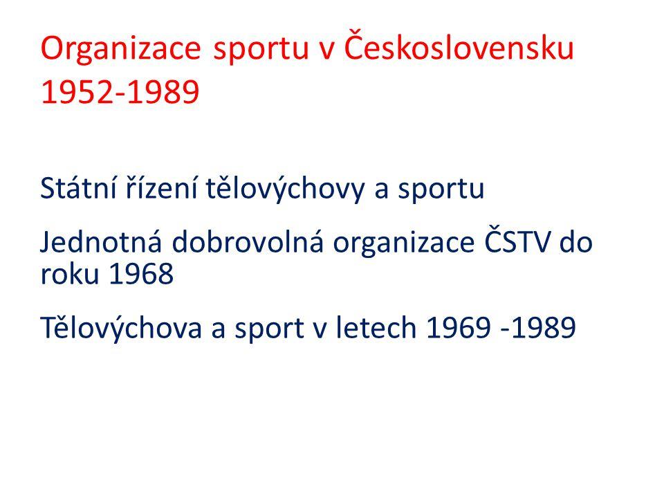 Organizace sportu v Československu 1952-1989 Státní řízení tělovýchovy a sportu Jednotná dobrovolná organizace ČSTV do roku 1968 Tělovýchova a sport v