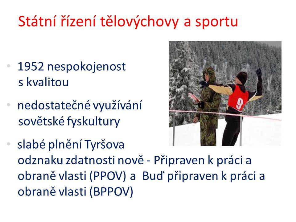 Státní řízení tělovýchovy a sportu 1952 nespokojenost s kvalitou nedostatečné využívání sovětské fyskultury slabé plnění Tyršova odznaku zdatnosti nov