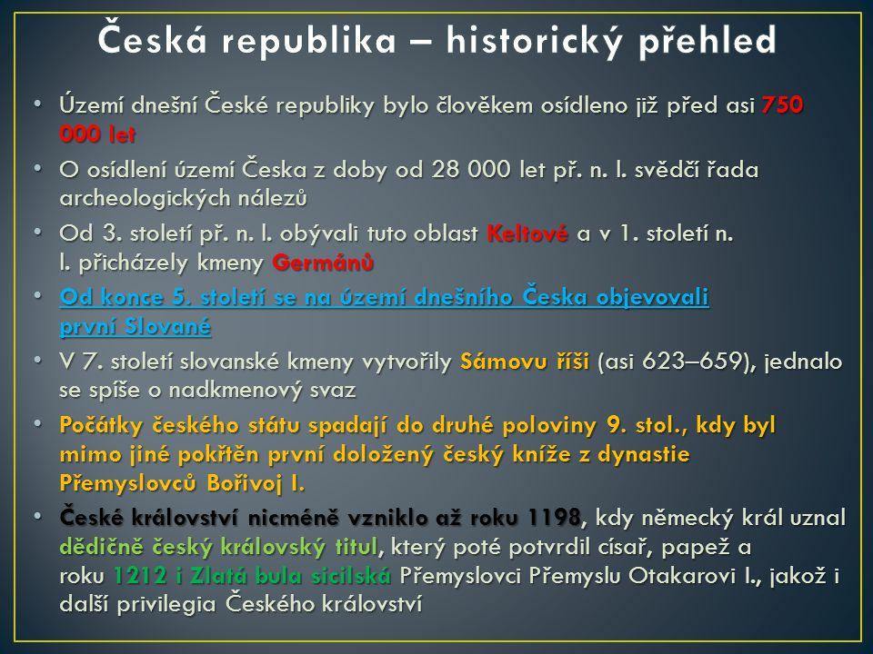 Území dnešní České republiky bylo člověkem osídleno již před asi 750 000 let Území dnešní České republiky bylo člověkem osídleno již před asi 750 000