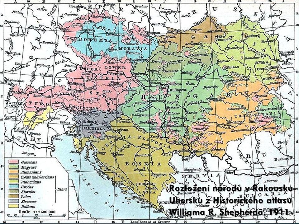 Rozložení národů v Rakousku- Uhersku z Historického atlasu Williama R. Shepherda, 1911