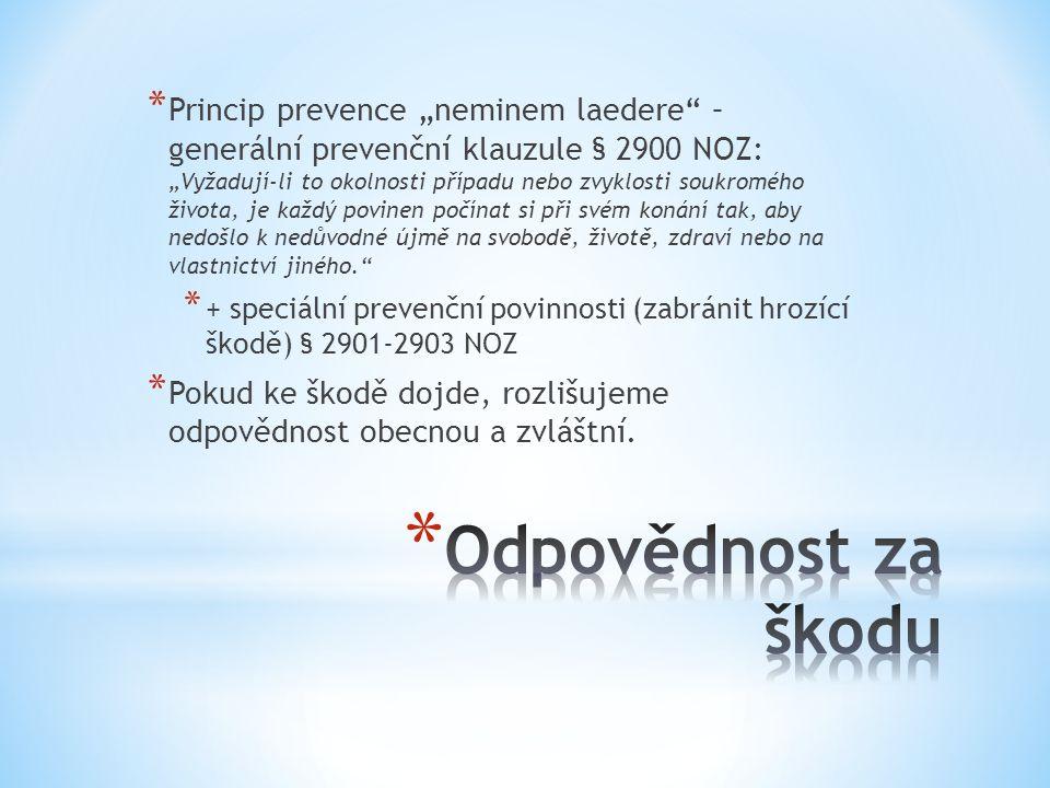 """* Princip prevence """"neminem laedere"""" – generální prevenční klauzule § 2900 NOZ: """"Vyžadují-li to okolnosti případu nebo zvyklosti soukromého života, je"""