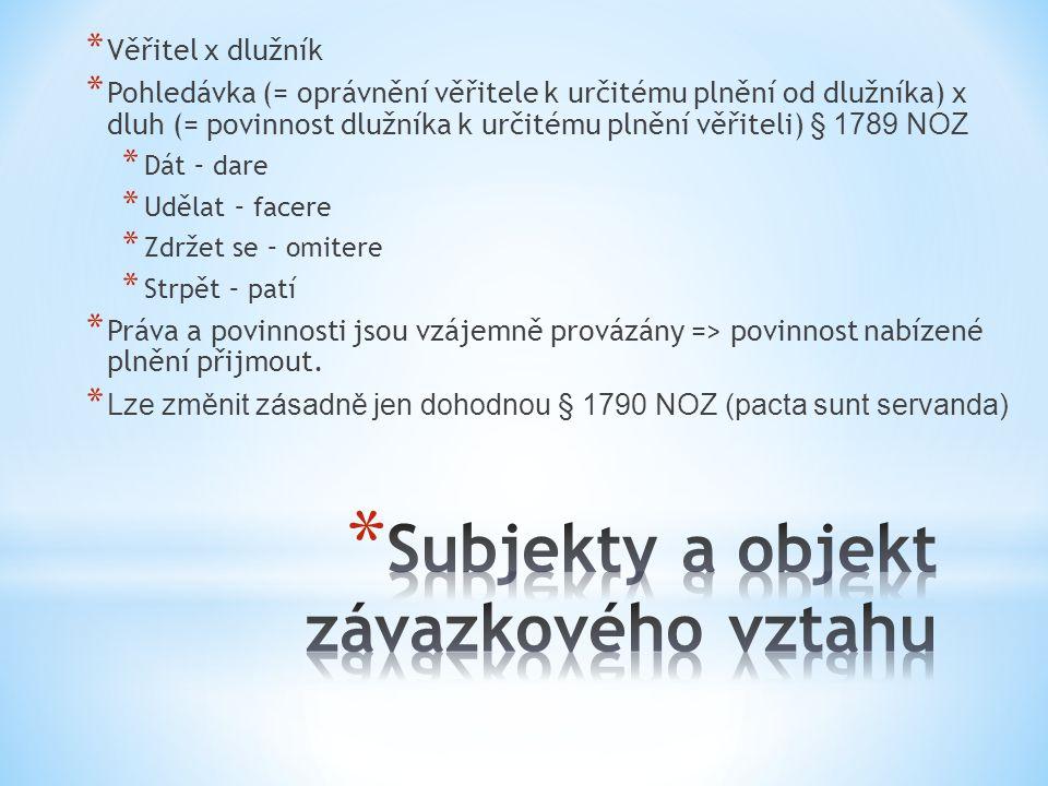 * Věřitel x dlužník * Pohledávka (= oprávnění věřitele k určitému plnění od dlužníka) x dluh (= povinnost dlužníka k určitému plnění věřiteli) § 1789