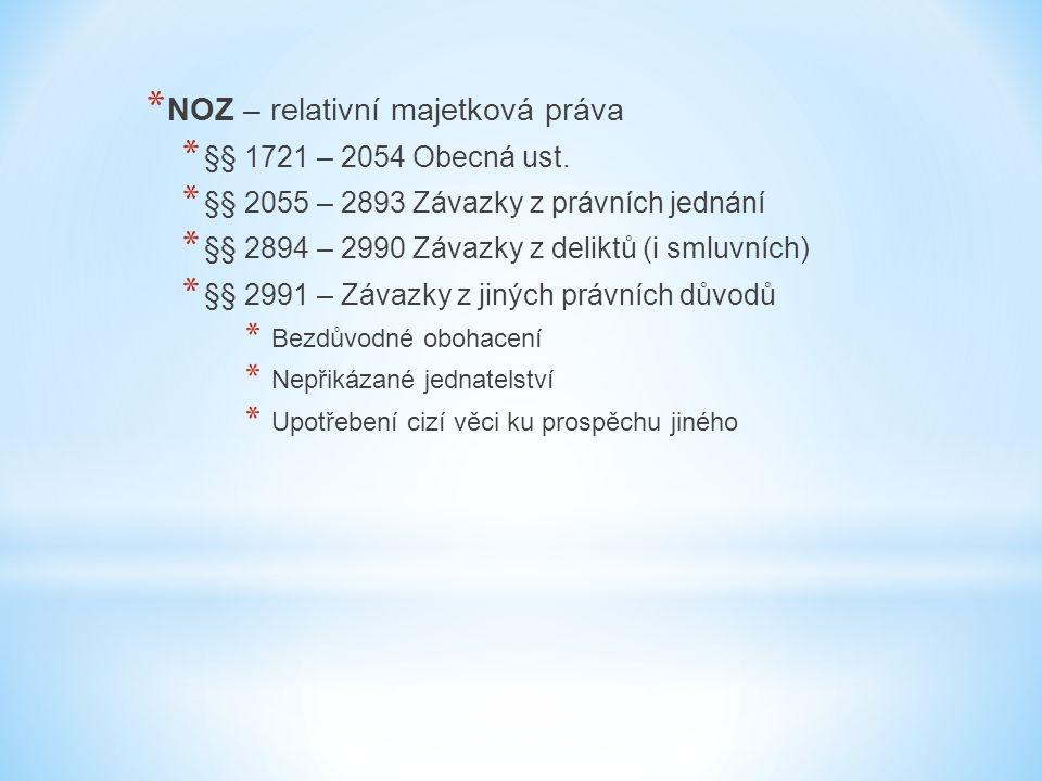 * NOZ – relativní majetková práva * §§ 1721 – 2054 Obecná ust. * §§ 2055 – 2893 Závazky z právních jednání * §§ 2894 – 2990 Závazky z deliktů (i smluv