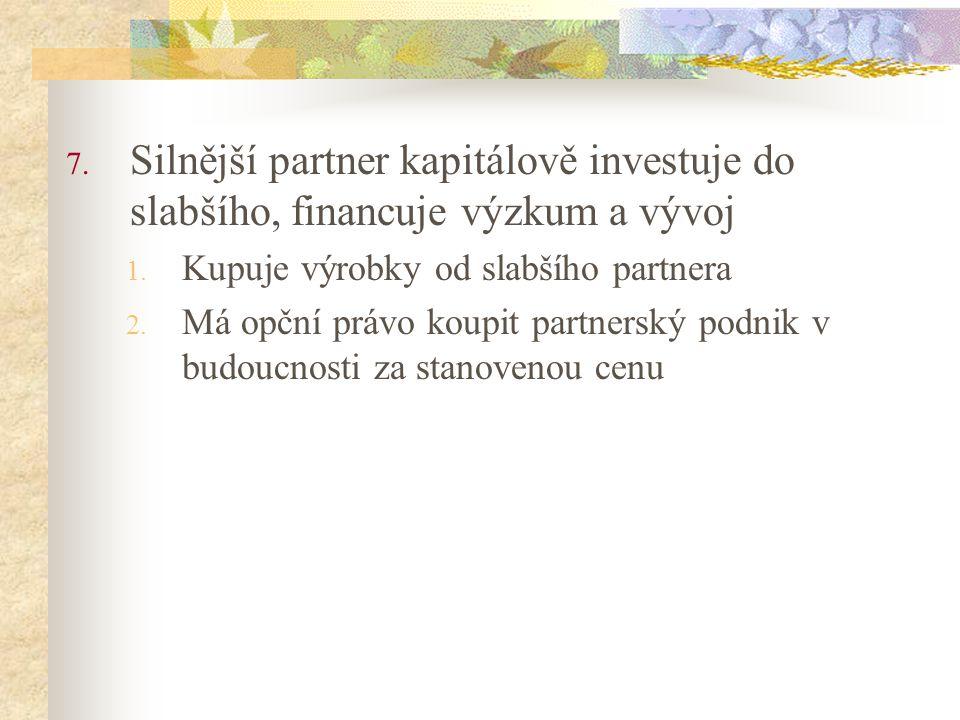 7. Silnější partner kapitálově investuje do slabšího, financuje výzkum a vývoj 1. Kupuje výrobky od slabšího partnera 2. Má opční právo koupit partner