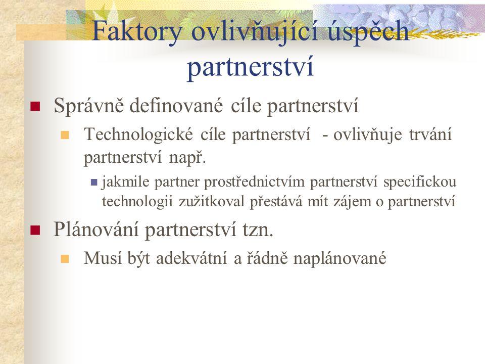 Faktory ovlivňující úspěch partnerství Správně definované cíle partnerství Technologické cíle partnerství - ovlivňuje trvání partnerství např. jakmile
