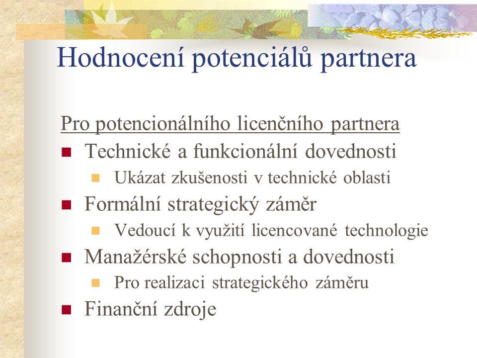 Hodnocení potenciálů partnera Pro potencionálního licenčního partnera Technické a funkcionální dovednosti Ukázat zkušenosti v technické oblasti Formál