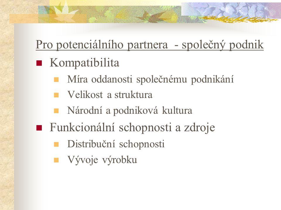Pro potenciálního partnera - společný podnik Kompatibilita Míra oddanosti společnému podnikání Velikost a struktura Národní a podniková kultura Funkci