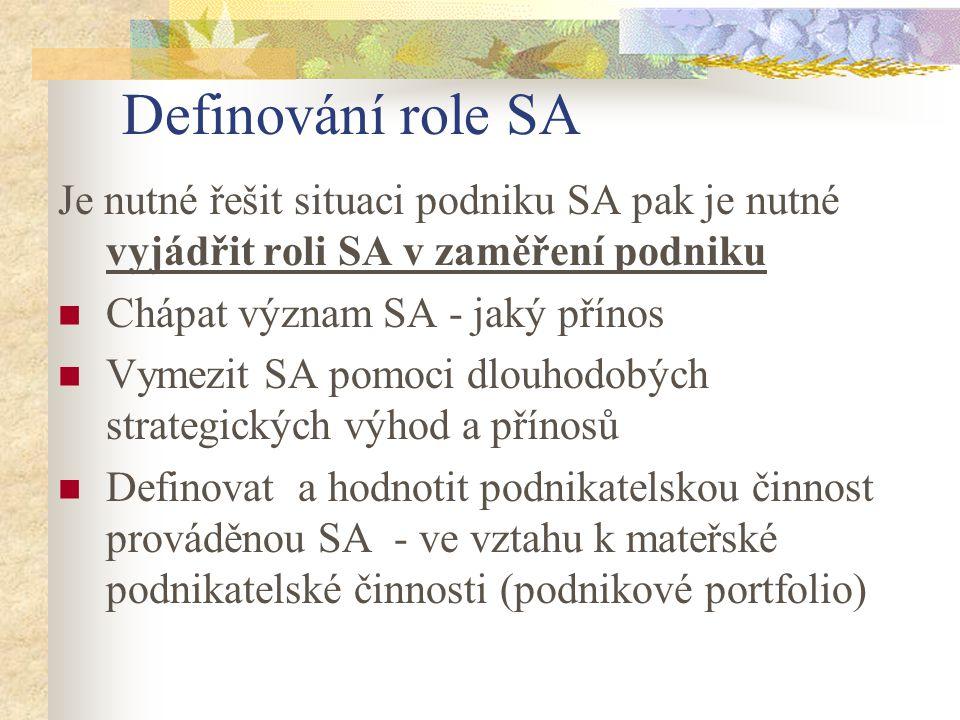 Definování role SA Je nutné řešit situaci podniku SA pak je nutné vyjádřit roli SA v zaměření podniku Chápat význam SA - jaký přínos Vymezit SA pomoci