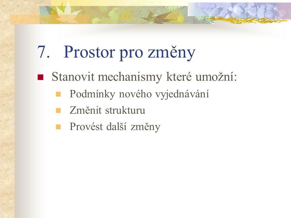 7.Prostor pro změny Stanovit mechanismy které umožní: Podmínky nového vyjednávání Změnit strukturu Provést další změny