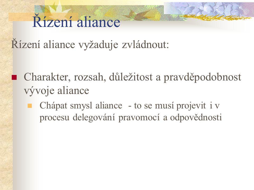 Řízení aliance Řízení aliance vyžaduje zvládnout: Charakter, rozsah, důležitost a pravděpodobnost vývoje aliance Chápat smysl aliance - to se musí pro