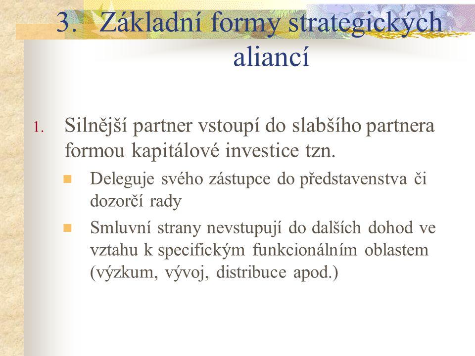 3.Základní formy strategických aliancí 1. Silnější partner vstoupí do slabšího partnera formou kapitálové investice tzn. Deleguje svého zástupce do př
