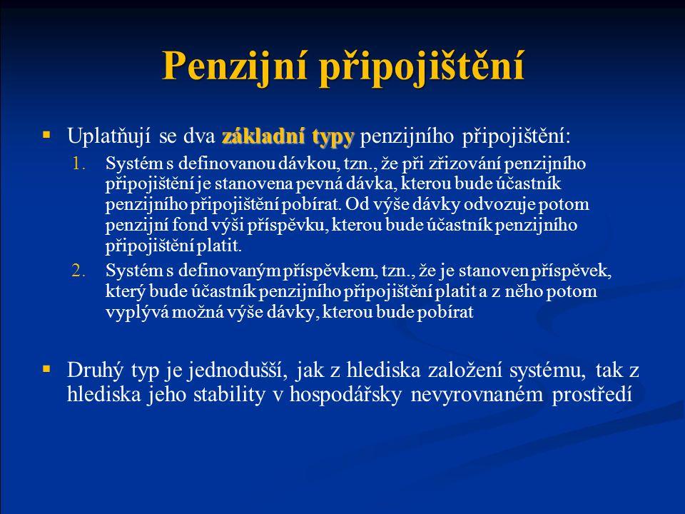 Penzijní připojištění základní typy  Uplatňují se dva základní typy penzijního připojištění: 1.Systém s definovanou dávkou, tzn., že při zřizování pe