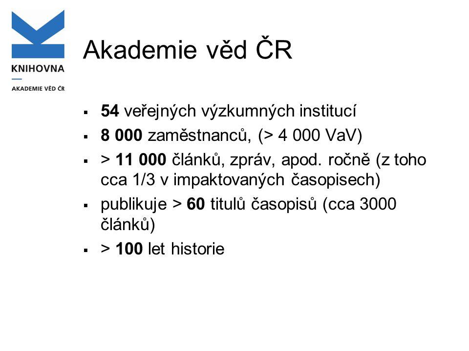 Akademie věd ČR  54 veřejných výzkumných institucí  8 000 zaměstnanců, (> 4 000 VaV)  > 11 000 článků, zpráv, apod.