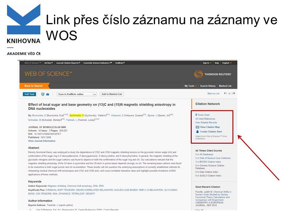 Link přes číslo záznamu na záznamy ve WOS