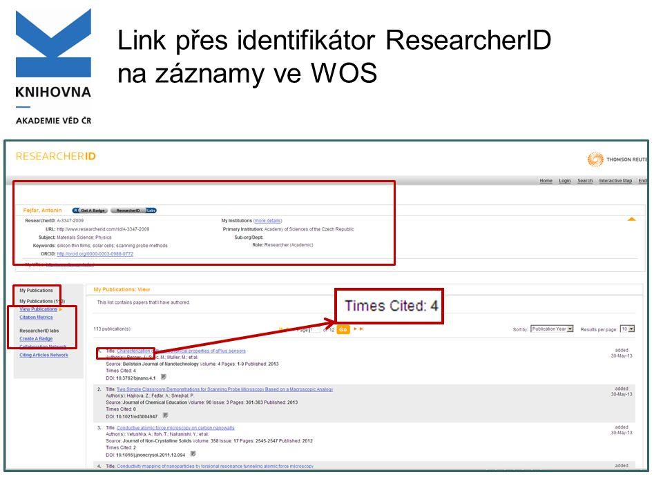 Link přes identifikátor ResearcherID na záznamy ve WOS