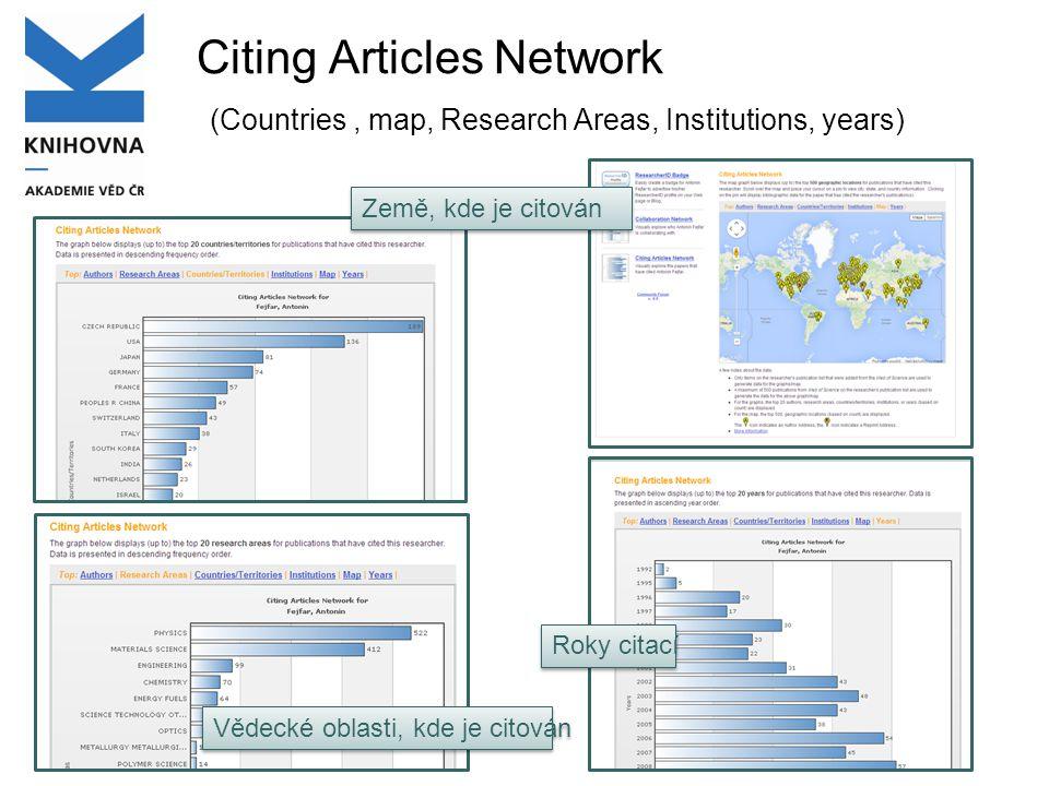 Citing Articles Network (Countries, map, Research Areas, Institutions, years) Země, kde je citován Vědecké oblasti, kde je citován Roky citací