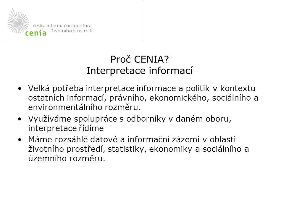 V minulosti vznikly jednotící informační produkty, kterým scházelo zázemí: –Mapové služby http://map.env.cz a http://geoportal.cenia.czhttp://map.env.czhttp://geoportal.cenia.cz –Indikátory udržitelného rozvoje http://indikatory.env.czhttp://indikatory.env.cz –Metainformační systém http://mis.env.czhttp://mis.env.cz Dnes představíme některé významné informační zdroje: –Systém evidence kontaminovaných míst a zátěží ŽP –Informační systém ochrany přírody –Integrovaný registr znečišťování –Geologický informační systém –Informační systém odpadového hospodářství česká informační agentura životního prostředí Proč CENIA.