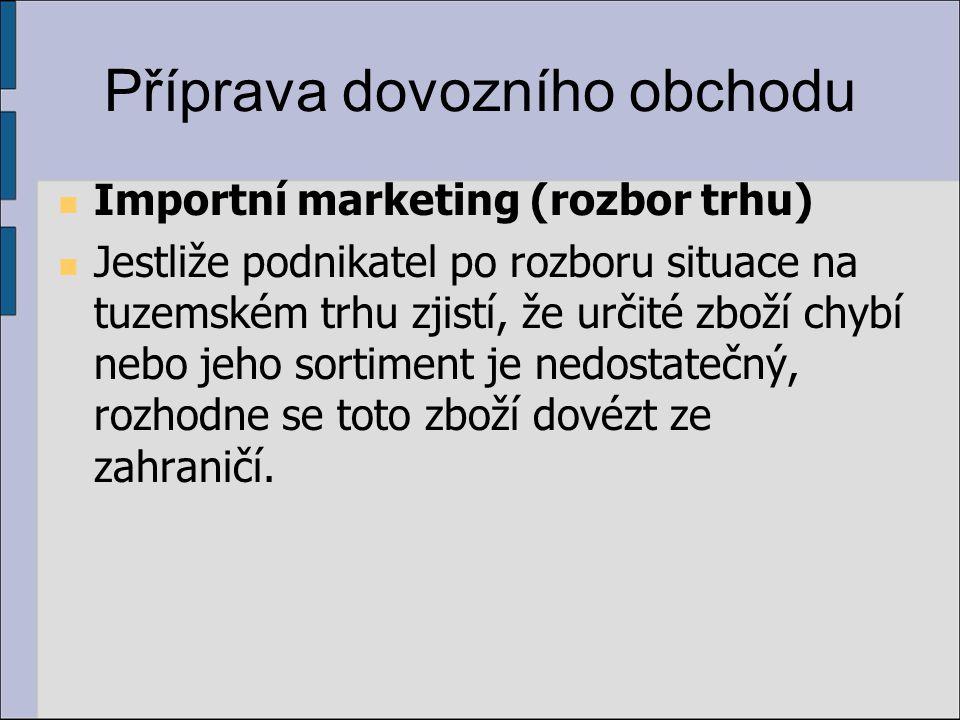 Příprava dovozního obchodu Importní marketing (rozbor trhu) Jestliže podnikatel po rozboru situace na tuzemském trhu zjistí, že určité zboží chybí nebo jeho sortiment je nedostatečný, rozhodne se toto zboží dovézt ze zahraničí.