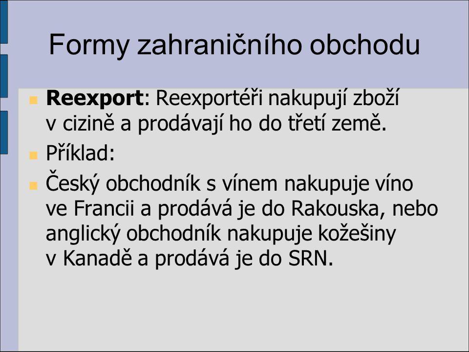 Formy zahraničního obchodu Reexport: Reexportéři nakupují zboží v cizině a prodávají ho do třetí země.