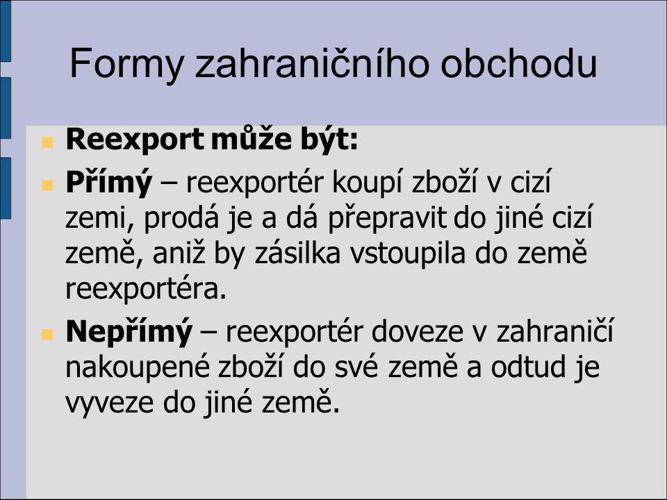 Formy zahraničního obchodu Reexport může být: Přímý – reexportér koupí zboží v cizí zemi, prodá je a dá přepravit do jiné cizí země, aniž by zásilka v