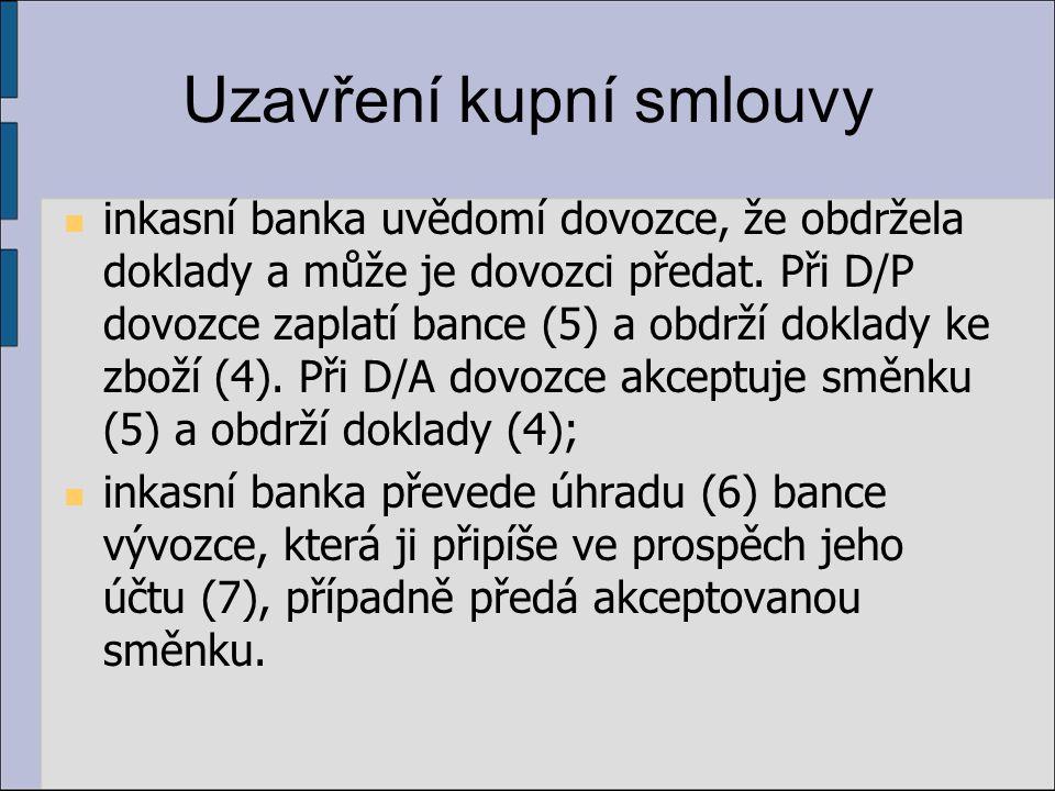 Uzavření kupní smlouvy inkasní banka uvědomí dovozce, že obdržela doklady a může je dovozci předat. Při D/P dovozce zaplatí bance (5) a obdrží doklady