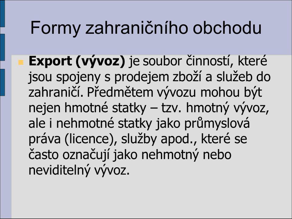 Formy zahraničního obchodu Export (vývoz) je soubor činností, které jsou spojeny s prodejem zboží a služeb do zahraničí. Předmětem vývozu mohou být ne