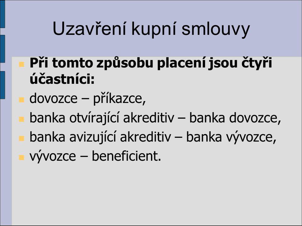 Uzavření kupní smlouvy Při tomto způsobu placení jsou čtyři účastníci: dovozce – příkazce, banka otvírající akreditiv – banka dovozce, banka avizující