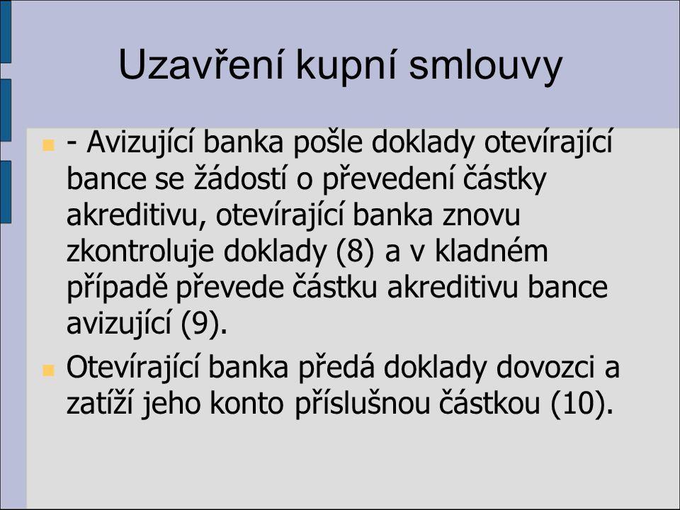 Uzavření kupní smlouvy - Avizující banka pošle doklady otevírající bance se žádostí o převedení částky akreditivu, otevírající banka znovu zkontroluje doklady (8) a v kladném případě převede částku akreditivu bance avizující (9).