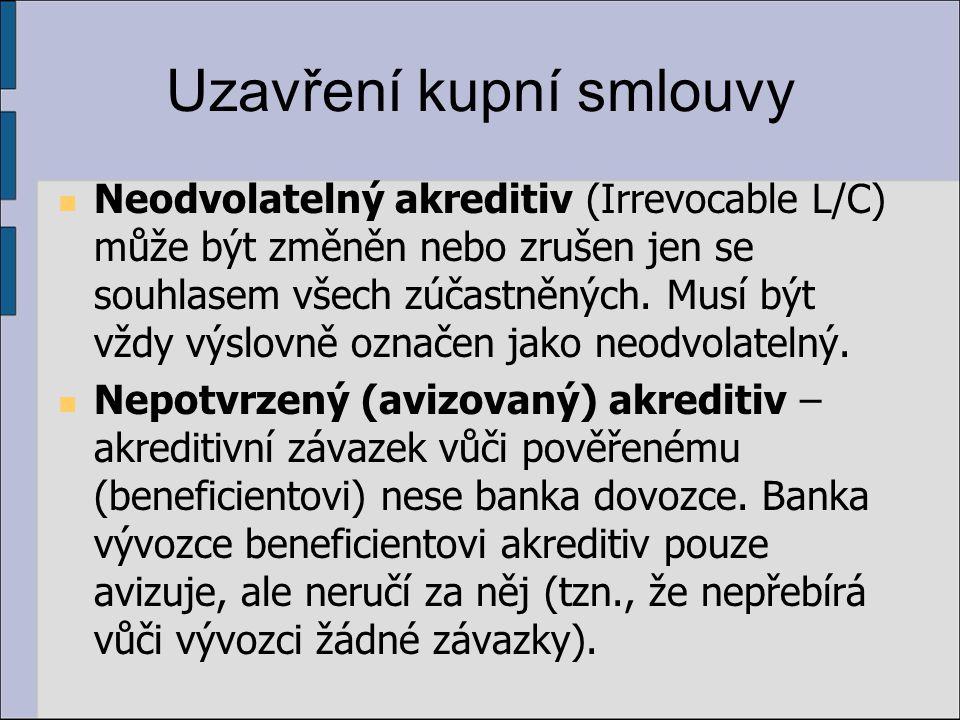 Uzavření kupní smlouvy Neodvolatelný akreditiv (Irrevocable L/C) může být změněn nebo zrušen jen se souhlasem všech zúčastněných. Musí být vždy výslov