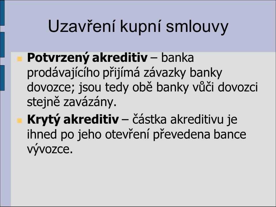 Uzavření kupní smlouvy Potvrzený akreditiv – banka prodávajícího přijímá závazky banky dovozce; jsou tedy obě banky vůči dovozci stejně zavázány. Kryt