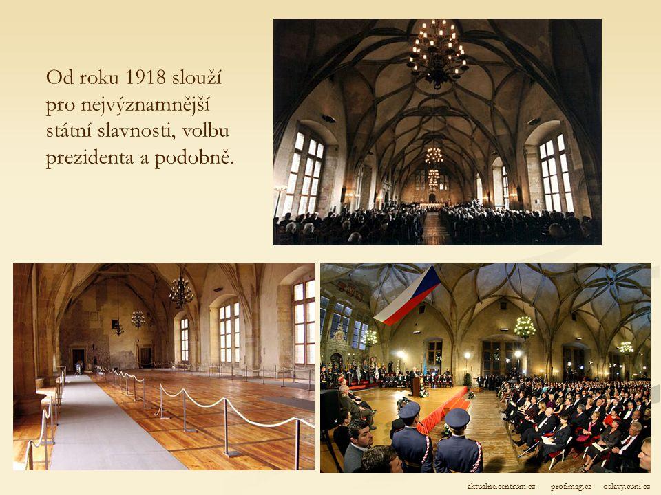 Starý královský palác: Vladislavský sál - Dříve se zde konaly korunovační hostiny králů, pořádaly se zde šlechtické zábavy (turnaje, tanec, divadelní