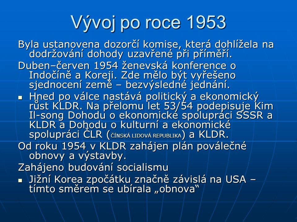 Vývoj po roce 1953 Byla ustanovena dozorčí komise, která dohlížela na dodržování dohody uzavřené při příměří. Duben–červen 1954 ženevská konference o